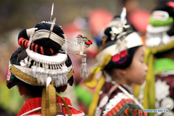 Girls of Miao Ethnic Group Celebrate Lusheng Festival