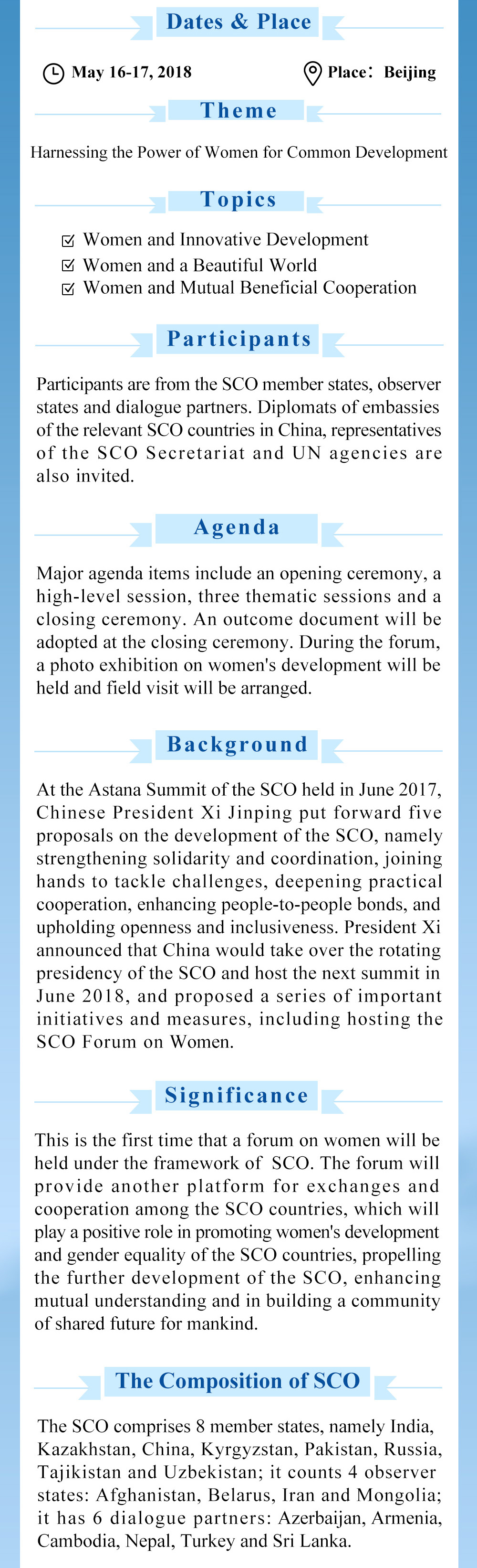 The First SCO Forum on Women to Be Held in Beijing