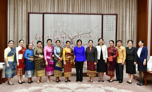Shen Meets Lao Women's Delegation
