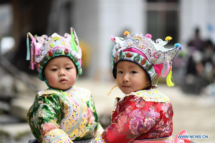 People of Dong Ethnic Group Celebrate New Year in SW China's Guizhou